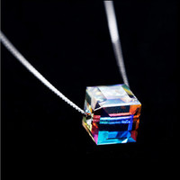 Collarbone Chain Square Crystal Necklace