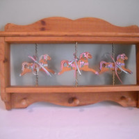 Wooden Carousel Shelf with 3 Hanging Knobs  2 Available