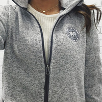 Gray Heather Fleece Full Zip Women's