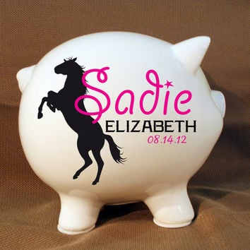 Horse Style Personalized Piggy Bank - Custom Piggy Bank, Pony Piggy Bank, Custom Girls Bank, Western Decor, Cowgirl Decor