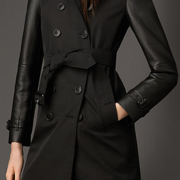 Nappa Leather and Gabardine Trench Coat