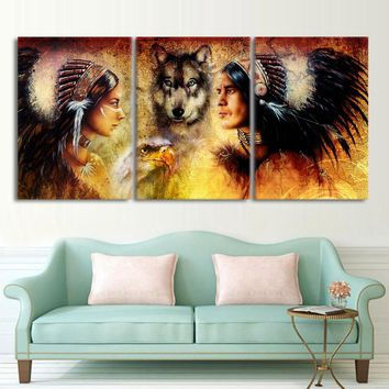 3 pcs piece canvas art American Indians wolf vintage painting wall picture