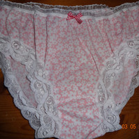 Handmade Panties knickers,pink with white daisies, vintage style sissy 18