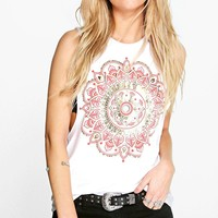 Lexi Foil Print Drop Arm Vest