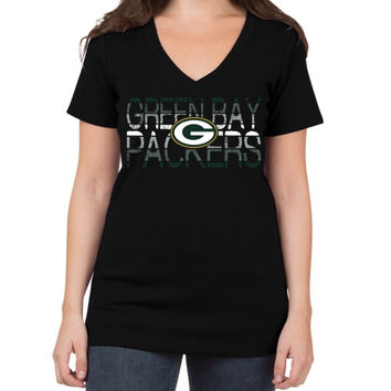 Green Bay Packers 5th & Ocean by New Era Women's Lounge V-Neck T-Shirt – Black