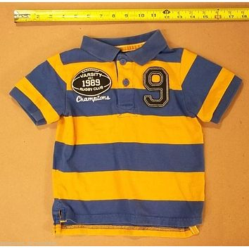 The Childrens Place Boys Shirt 24m Varsity Rugby Club Blue Orange Stripes -- Used