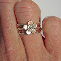 Five Petal Copper and silver Flower Ring, Stacking Ring