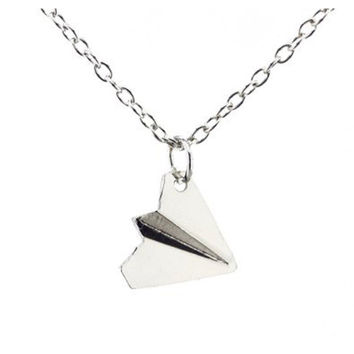 Fashion Simple One Direction Smooth Comfy Paper Airplane Chain Pendant Jewelry Unisex Fashion Casual Neutral Necklace