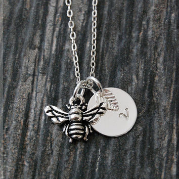 Silver Bumble Bee Necklace, Initial Charm Necklace, Personalized Necklace, Bee Charm Necklace, Bee pendant, Insect Necklace, Insect Jewelry