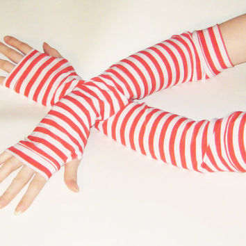 Ahoy Gal - Nautical Arm warmers fingerless gloves white and red striped stripes pin up girl costume sailor cosplay goth gothic punk