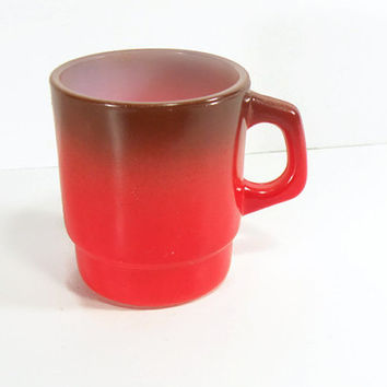 Vintage Fire King Ombre Coffee Mug Glass Coffee Cup Red And Black