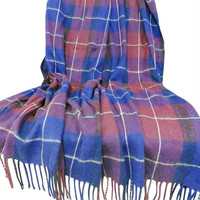 Lavish Home Cashmere-Like Blanket Throw - Blue-Red Plaid
