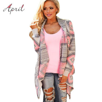 Pink Kimono Cardigan Blouses  Women Geometric Printed Long Sleeve Cotton Coat Fashion Knitted Poncho Tops Casual Blouse