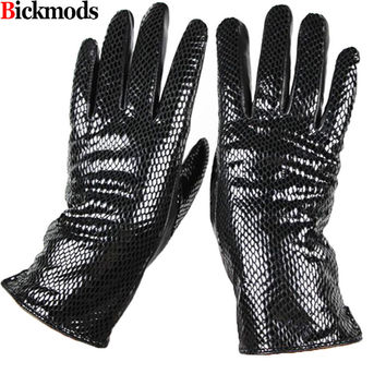 Female style snakeskin pattern leather gloves points finger sheepskin gloves warm cashmere lining armband sets free shipping