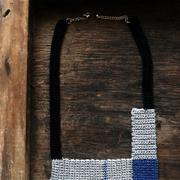 Geometric crochet bib necklace