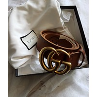 Gucci TAN Double G Belt 85 BRAND NEW
