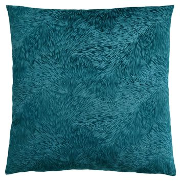 """Pillow - 18""""X 18"""" / Turquoise Feathered Velvet / 1Pc"""