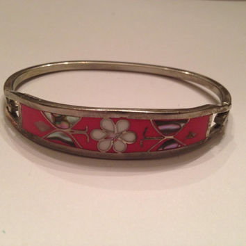 Vintage Alpaca Silver Bracelet Coral White Flower Abalone Butterfly Inlay Mexican Jewelry