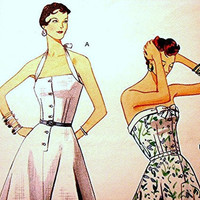 Retro Vintage 1950s Vogue Model 1953 Misses Halter Sun Dress Pattern size 4 6 8 10 UNCUT Halter Dress Sundress