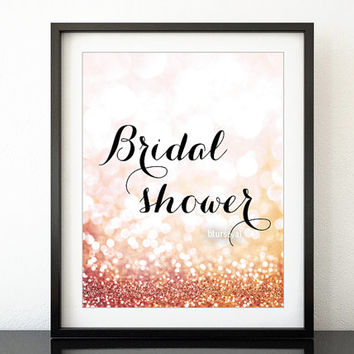 printable sign bridal shower sign in gold glitter pink and gol