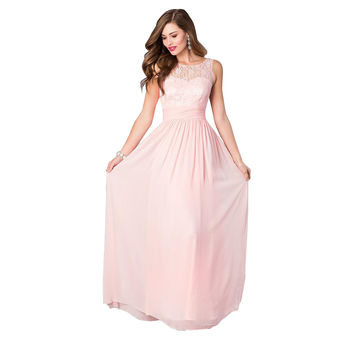 Rose Pink Sleeveless Lace Belt Chiffon Sheath Maxi Dress