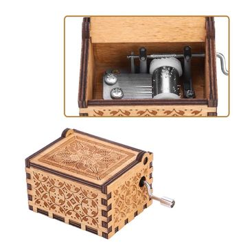 1pc Antique Carved Wooden Hand Crank Music Box Mechanical Classic Theme Music Birthday Gift