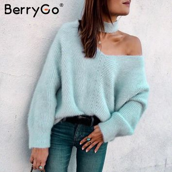 BerryGo Off shoulder blue knitted sweater female Sexy turtleneck oversize pullover Women jumpers 2018 casual winter fall sweater