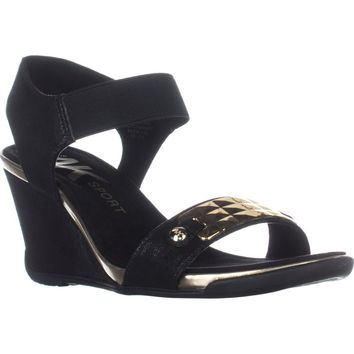 AK Anne Klein Sport Latasha Comfort Wedge Sandals, Black/Black, 8.5 US