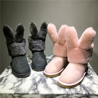 """UGG"" Women Cute Rabbit ears Fashion Wool Snow Boots Calfskin Shoes"