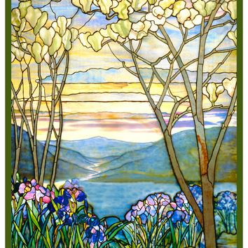 Iris Flowers and Magnolia Trees inspired by Louis Comfort Tiffany  Counted Cross Stitch Pattern