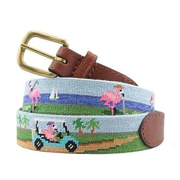 Fairway Flamingos Needlepoint Belt by Smathers & Branson