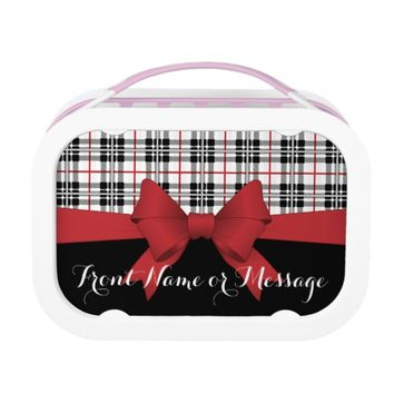 Red Black Tartan Plaid and Ribbon Cute Kids Custom Lunch Box