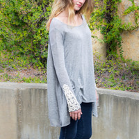 Lace Sleeve Tunic- Heather Grey