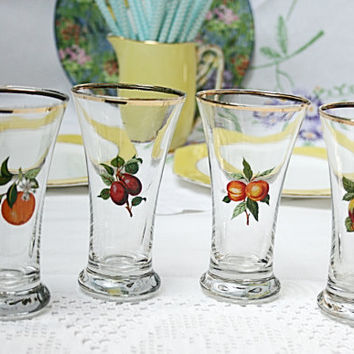 SALE......Set of 4 tall cordial / party glasses each with a different fruit decoration: perfect set of fruit juice glasses for a retro party