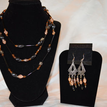 Recycled, Earth Friendly, Glass Necklace and Chandelier Earring Set in shades of brown, black, and peachy-brown