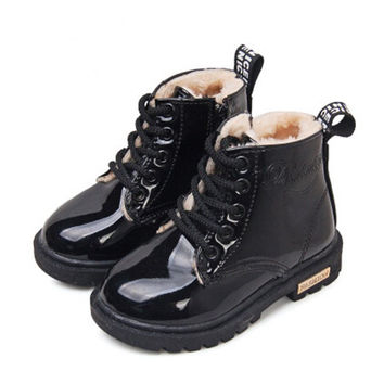 2016 New Winter Children Snow Boots PU Leather Waterproof Kids Velvet Martin Boots Boys Girls Casual Shoes Fashion Sneakers