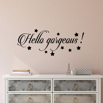 Vinyl Wall Decal Stickers Motivation Quote Words Hello Gorgeous Inspiring Letters 2483ig (22.5 in x 9 in)
