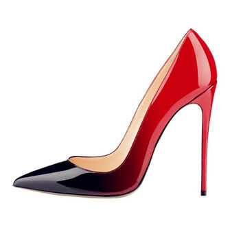 Women's Red Bottom High Heels Cow Muscle bottom Patent Leather Pumps Sex Ladies Luxury Brand Wedding Dress Shoes