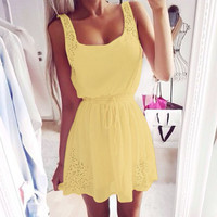 New Summer White And Yellow Women Casual Dresses Sleeveless Cocktail Short Mini Dress