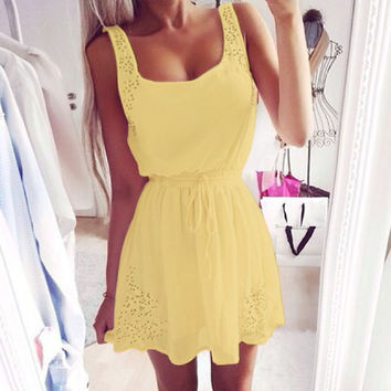 Summer White And Yellow Women Casual Dresses Sleeveless Cocktail Short Mini Dress