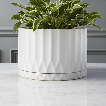 drum white planter