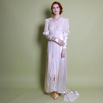 30s 40s Satin & Lace BRIDAL Dressing GOWN / Long Train Wedding DRESS, xs - s