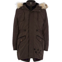 River Island Boys dark grey parka coat