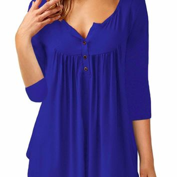 Royal Blue 3/4 Sleeve Button Detail Pleated Tunic