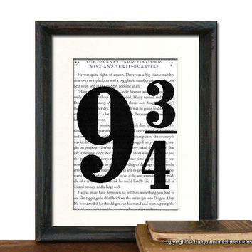 Harry Potter Book Page Art Print Platform Nine by QuaintandCurious