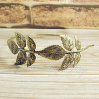 Leaf Headband , Branch and Leaves Headband In Antique Bronze, Vintage Style Leaf Hairband Hair Piece, Romantic Gift For Her