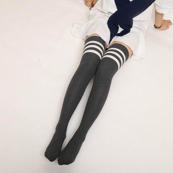Fashion Winter Stockings Women Knitted Over knee Long Boot Thigh High Warm Christmas Stockings If You Can Read This Stockings