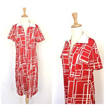 Vintage Color Block Dress -70s dress - shift dress - shirtdress - two tone - red and white - knee length - Medium - Large
