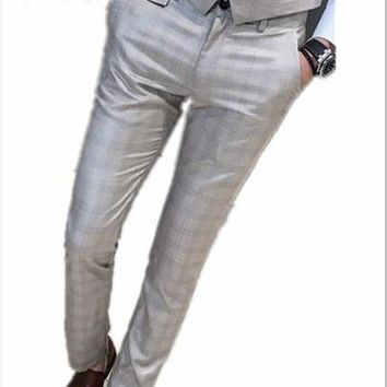 2017 new products on the new men wear beige checkered pants anti-wrinkle small trousers wedding Slim business trousers