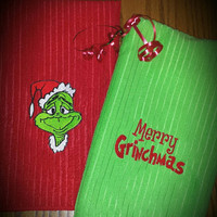 Grinch Towels Kitchen or Bath 16x25 Santa GRINCH & Merry GrinchMaS Set! Bright Colors Adorable Gift or Christmas Decor! Designs by Sugarbear
